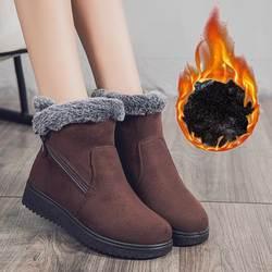 Новые стильные зимние ботинки женские теплые полусапожки из плотного бархата Женская обувь больших размеров обувь с хлопчатобумажными