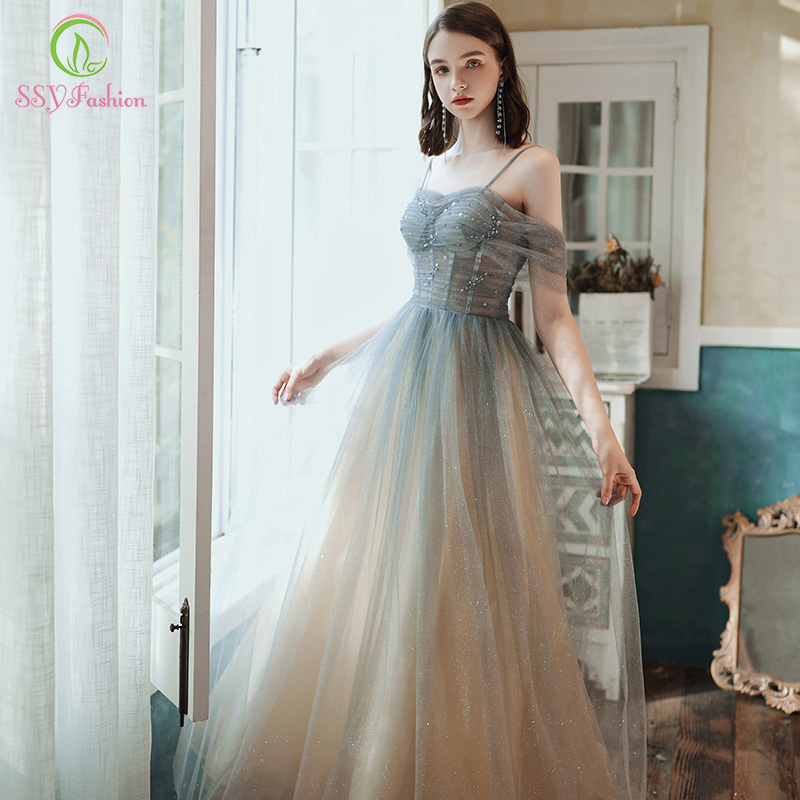 SSYFashion New Dream Gradient Grey Blue Evening Dress Banquet Boat Neck Sequins Shining Long Prom Party Gown Vestidos De Noche