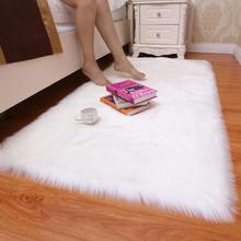 Washable Home Textile Artificial Wool Carpet Rectangle/Square garnish Faux Mat Seat Pad Plain Skin Fur Fluffy Area Rugs