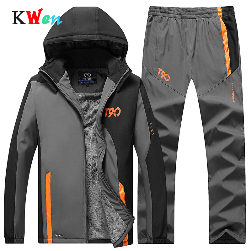 Tracksuit Men's Sportswear Sets Winter Tracksuits Thicken Suits Hooded Jacket + Pants Warm Set Brand Men's Casual Clothing Set