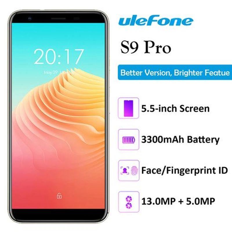"Ulefone S9 PRO SmartPhone 2GB RAM 16GB ROM 5.5"" 4G LTE Telephone MTK6739 Quad Core Android 8.1 8.0MP Fingerprint Mobile Phone"