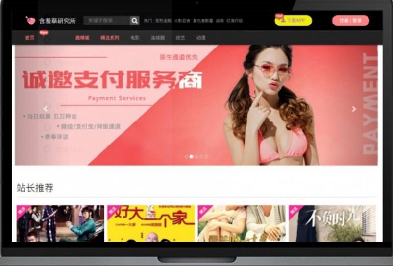 含羞草实习所二开苹果cms视频网站源码模板