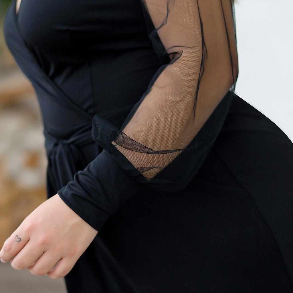 Комбинезон женский комбинезон плюс размер Повседневный сетчатый сшитый длинный рукав ремень широкий комбинезон женский дропшиппинг # XB20