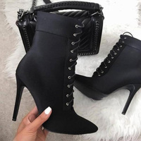 Black Ankle Boots Woman High Thin Heels Pointed Toe Lace Up Shoes Large Size 12 16 Ladies Booties Winter Fashion Mature Shofoo