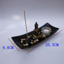 1 X Resin Buddha Figure Ornament Joss-stick Candle Holder Stone Sand Home Decor(China)