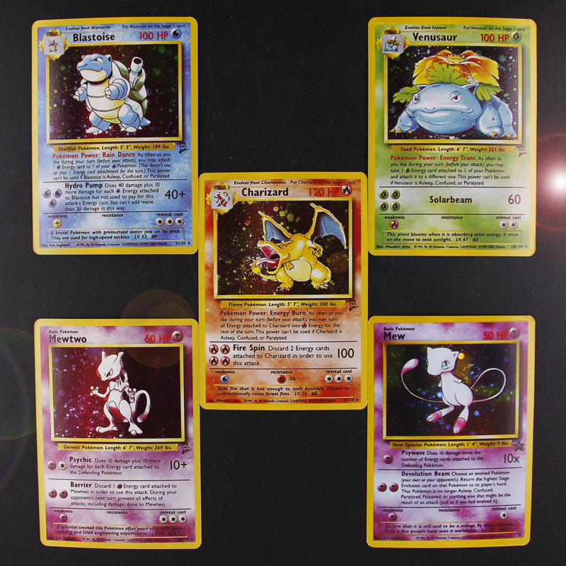 TOMY 5PCS/LOT Pokemon Charizard Blastoise Venusaur Mewtwo MEGA Flash Cards POKEMON Game Collection Cards