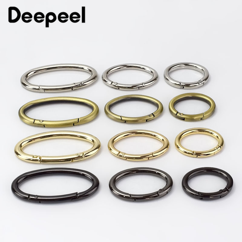 5Pcs Openable Oval Ring Metal Buckels For Bag Garment Belt Strap Dog Chain Snap Clasp Keychain Hooks DIY Bag Sewing Accessories