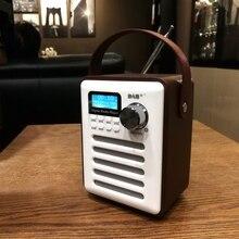 Dab receptor de áudio fm mp3 estéreo madeira handsfree display lcd portátil recarregável jogador usb retro bluetooth rádio digital