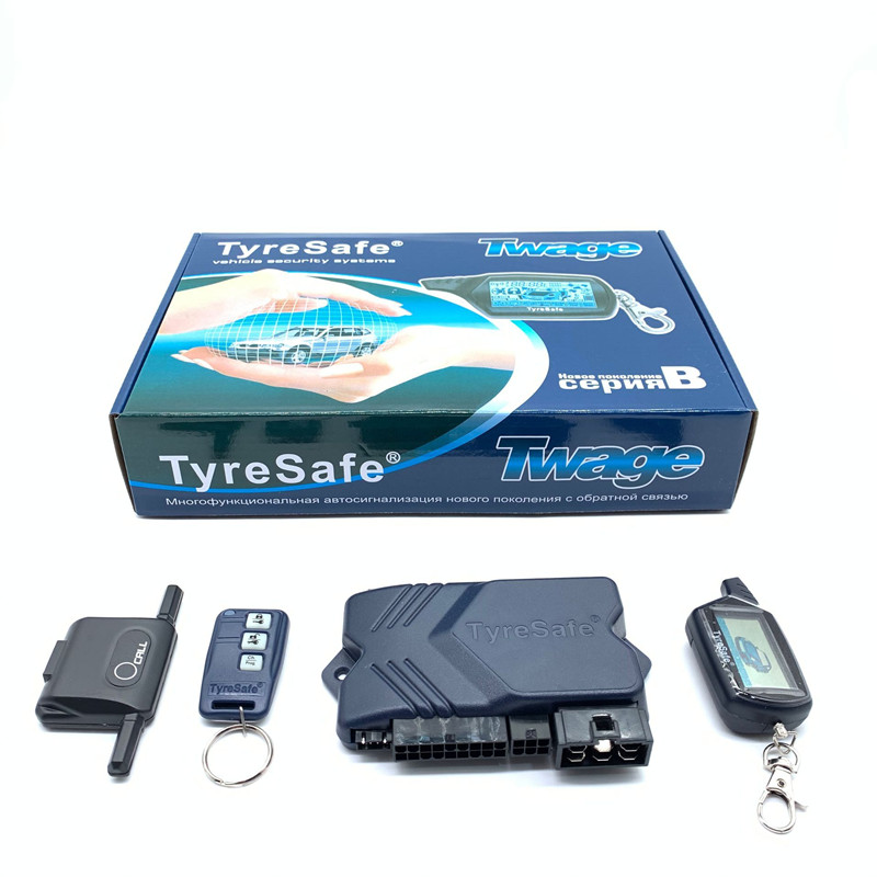 For TyreSafe English and Russian B9 Two Way Car Burglar Alarm System Car Alarm Security with Engine Start Remote Control Key