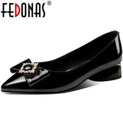 FEDONAS Nudo de mariposa zapatos de mujer 2020 nuevo verano cuadrado bombas tacones conciso vintage básicos de trabajo del dedo del pie puntiagudo zapatos de mujer Zapatos