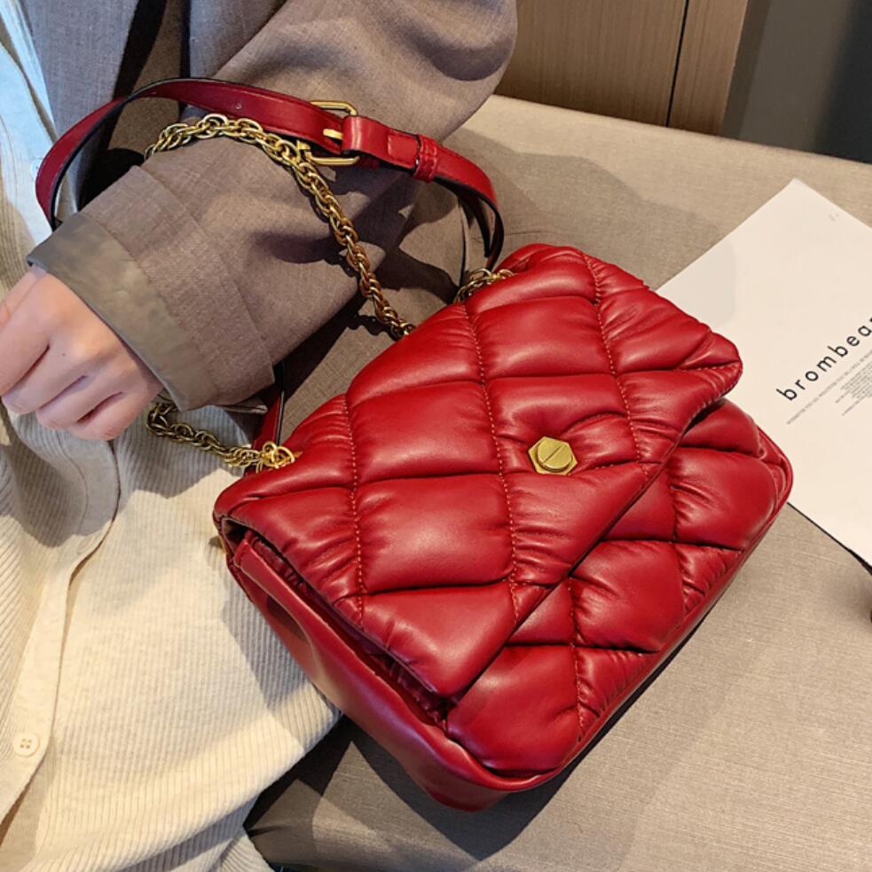 Elegant Female Plaid Crossbody Bag 2019 Fashion New Quality Leather Women's Designer Handbag Lock Chain Shoulder Messenger Bag