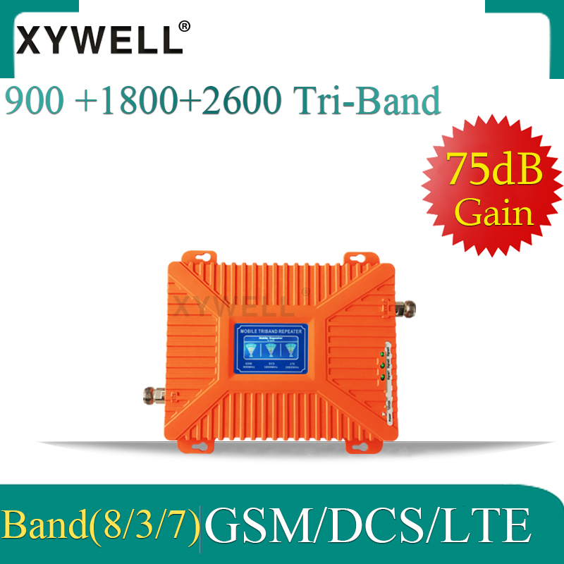 XYWELL 2019 New 4g Signal Booster GSM 900MHz+DCS/LTE 1800(B3)+FDD LTE 2600(B7) Cell Phone Signal Repeater Cellular Amplifier
