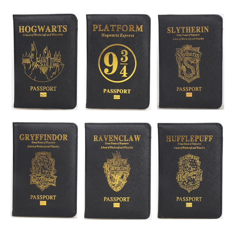 Travel Accessories Hogwarts School Passport Cover Rfid Black EP Pu Leather Potter Passport Holder Cards Travel Passport Case New