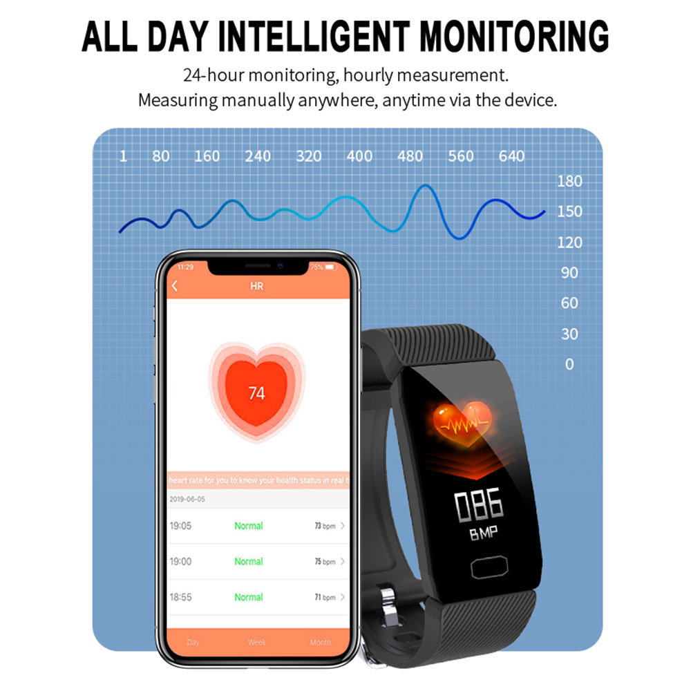 1 14 Smart Band Weather Display Blood Pressure Heart Rate Monitor Fitness Tracker Smart Watch Bracelet 1.14 Smart Band Weather Display Blood Pressure Heart Rate Monitor Fitness Tracker Smart Watch Bracelet Waterproof Men Women Kids
