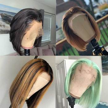 Ombre Highlight Honey Blonde Brown 13X6 Lace Front Human Hair Wig Light Green Colored Short Bob Cut Transparent Lace Wigs   Remy
