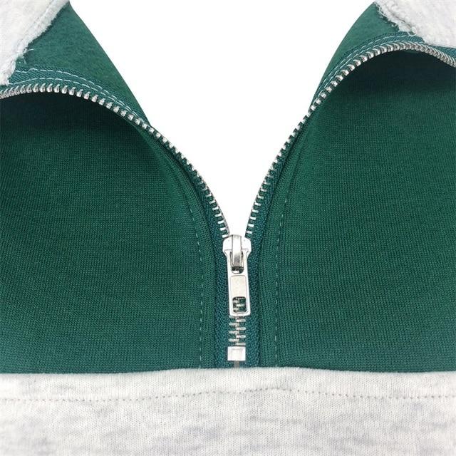 Fashion women's cotton Stand collar half zipper letter printing long sleeve sweatshirts Vintage Grey casual loose sweatshirt 5