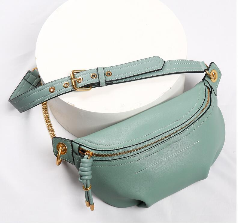 MAHEU Genuine Leather Waist Bags Women Designer Fanny Pack Fashion Belt Female Lady Wait Pack Bum Bag Cowskin Single Shouder Bag