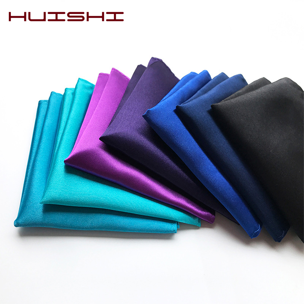 HUISHI White Pink Man's Handkerchiefs Suit Pocket Square Towel Accessories Wedding Banquet Anniversary Commercial Black Red Blue