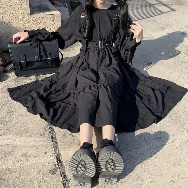 QWEEK Gothic Style Dress Women Harajuku Gothic Lolita Kawaii Dress Punk Cute Long Sleeve Black Midi Dress 2021 Emo Mall Goth 1