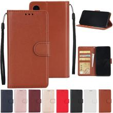 For iPhone X XS XR Max 6 6S 7 8 Plus Solid Color Leather Wallet Case for Flip Cover Card Slot Bags