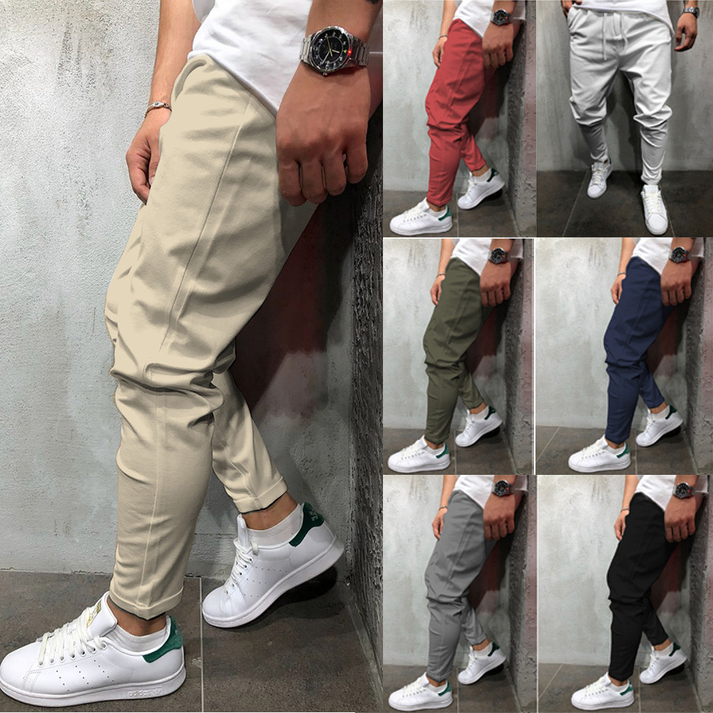 JODIMITTY Fashion Hot Selling New 2019  Summer New Fashion Casual Men's Tie With Solid Color Eight-color Pants M-5XL