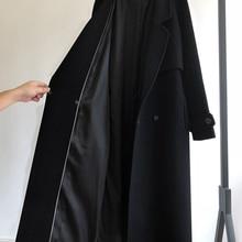 Wool Coat Belt Women Jacket Female Black Long Winter Fashion Autumn Casual Loose