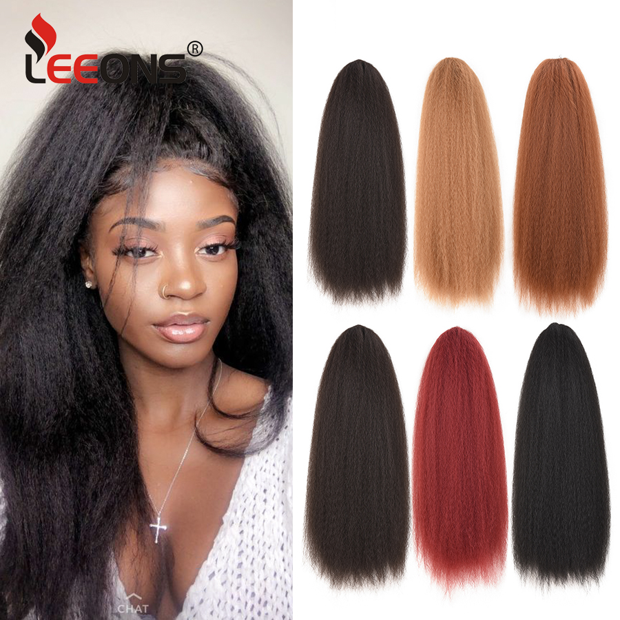 Leeons-coleta recta rizada para mujer, extensiones de cabello Afro Yaki con cordón sintético de alta calidad, coleta larga de 22 pulgadas