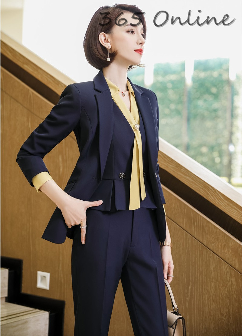 Formal Women Business Suits With Pants And Jackets Coat And Vest & Waistcoat OL Styles Professional Pantsuits For Ladies Blazers