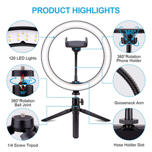 Image 4 - 26cm/10inch Ring Lamp Camera Ring Light Stand Cell Phone Holder For Live Stream/makeup/youtube Video/photography