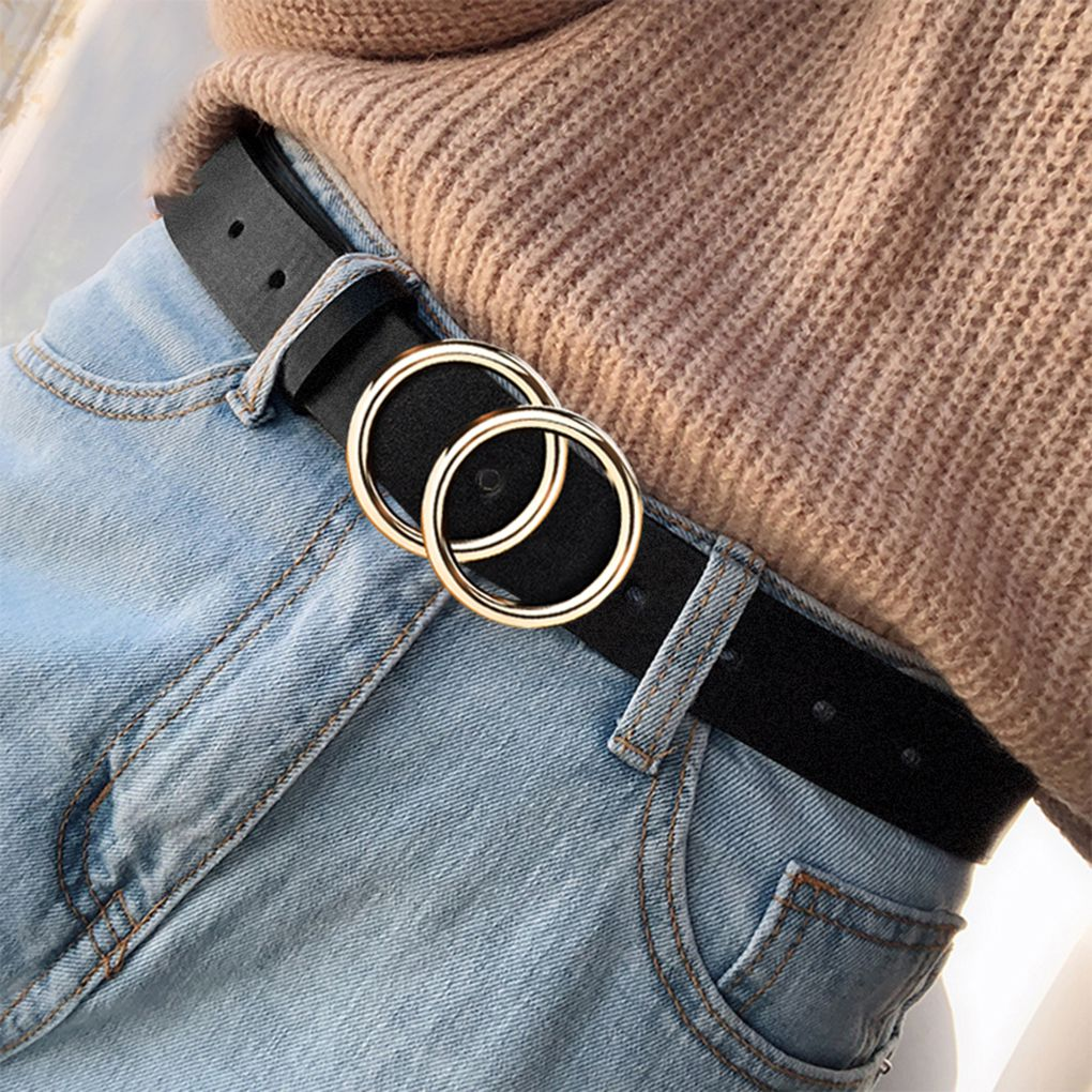 Double Ring Circle Button Belt Leisure Jeans Fashion Dress Women Leather Belt Simple Solid Color Girls Adjustable Waist Strap