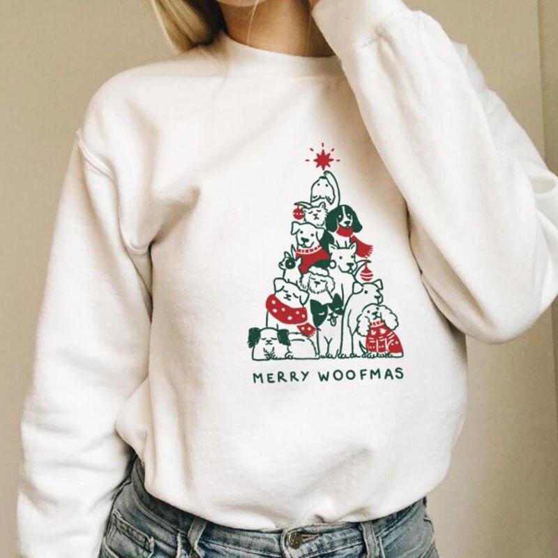 Merry Woofmas Funny Sweatshirt Women Dog Print Long Sleeve Pullover Hoodie Christmas Kawaii Clothes Girls Jumpers Dropshipping
