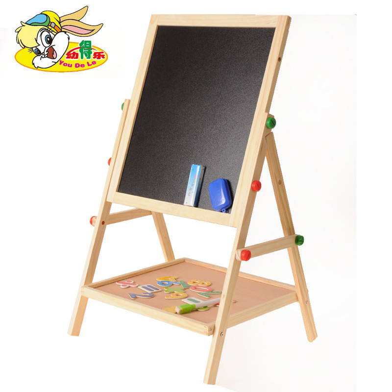 Wooden Children Double-Sided Magnetic Blackboard Drawing Board Multi-functional-in-Drawing Board Braced Writing Board