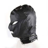 PU Leather Head Hood BDSM Mask Adult Products Blindfold Exotic Accessories Fetish Fantasy Sex Slave Role Play Bondage Head Hood