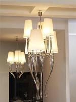 European Modern White Fabric Iron Horns Pendant Light for Hall Living Room Hanging Lighting Deco Maison LED Bulbs Cord Pendant
