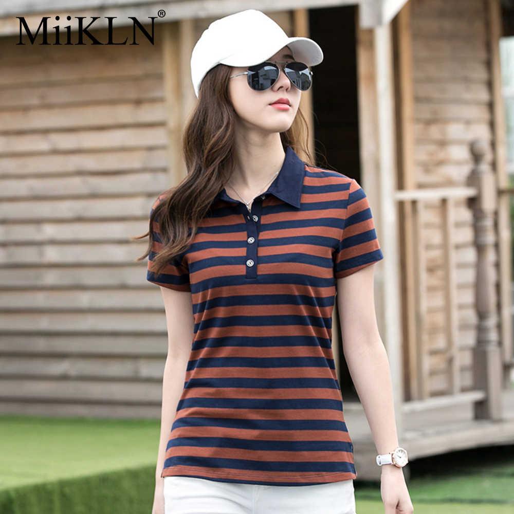 Miikln Vrouwen Polo Shirt 90% Katoen Kraag Stripped 22 Kleuren Korte Mouwen Polo Shirt Voor Vrouwen Plus Size M Om 4XL Dames Polo