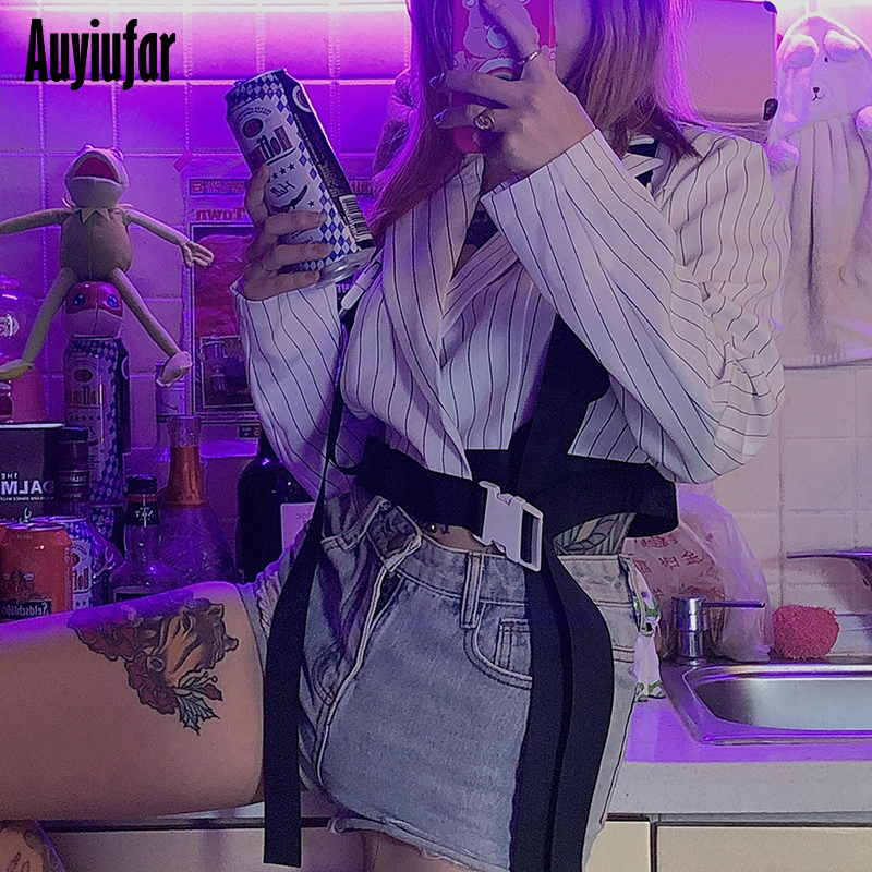 Auyiufar Women 39 s Suit Coat With Strap Buckle Striped Patchwork Long Sleeve Female Tops 2019 Streetwear Casual Short Coats Tops in Jackets from Women 39 s Clothing