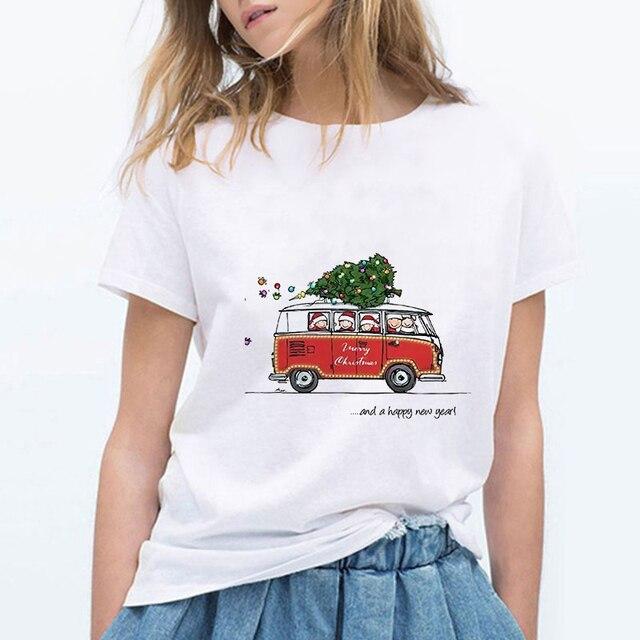 패션 메리 크리스마스와 새해 복 많이 받으세요 하라주쿠 그래픽 t 셔츠 여성 캐주얼 빈티지 체육관 streetwear 티 셔츠 femme