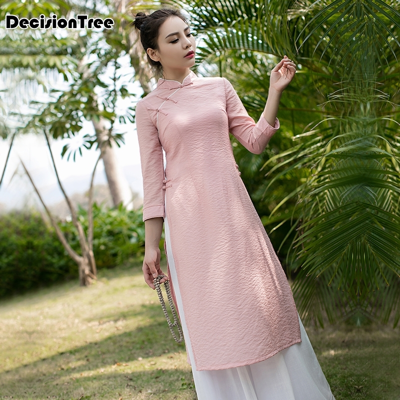 2020 Woman Solid White Aodai Vietnam Traditional Clothing Ao Dai Vietnam Dress Vietnam Costumes Improved Cheongsam Dress