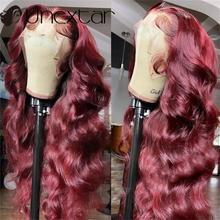 Untar borgonha onda 180 densidade perucas brasileiro remy cabelo pré arrancado 13 × 4 frente do laço perucas de cabelo humano perucas coloridas do laço