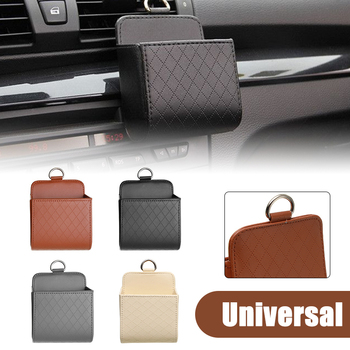 Car Air Vent Storage Bag Organizer Box PU Leather Car Accessories Dashboard Tidy Glasses Phone Holder Coin Bag For Audi image