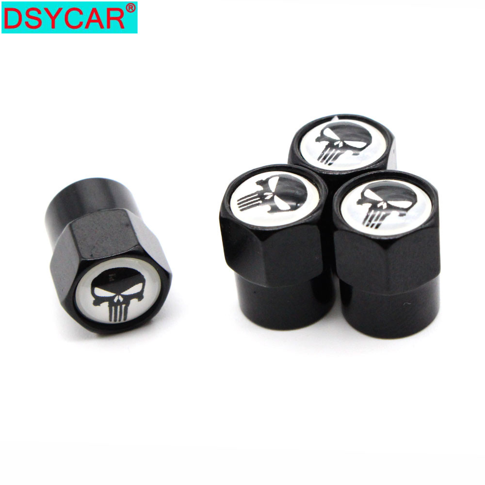 DSYCAR 4Pcs/Set Car Styling Aluminium Alloy/Copper Skull Logo Car Tire Valve Caps Wheel Tires Tire Stem Air Cap Airtight Covers