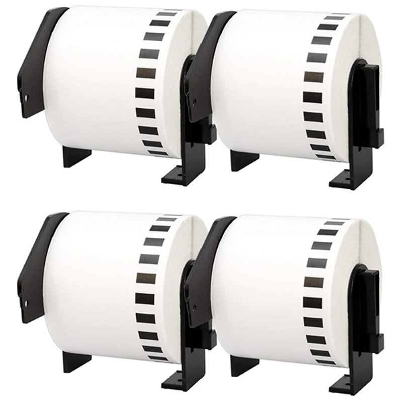 4Pcs For Brother DK-22205 Printer Labels 62mm Roll+Spool For QL-560 QL-570