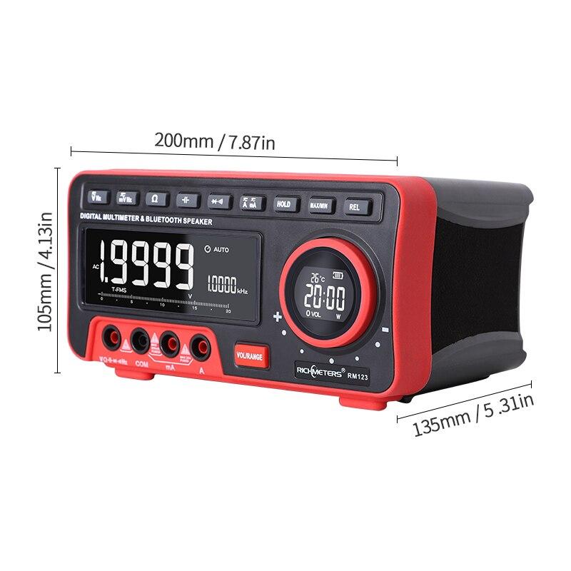 Bluetooth Digital Multimeter 19999 Voltmeter Tester Probes 1 2M Speaker Auto-Ranging Analog Bar Ammeter