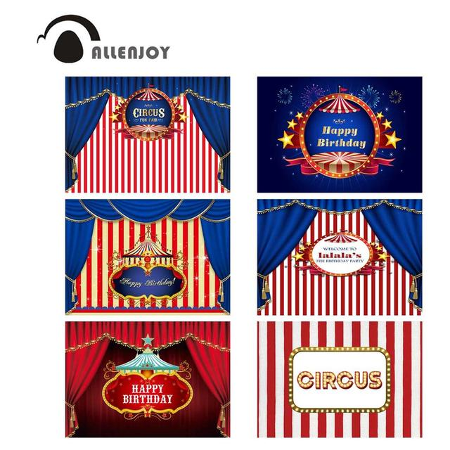 Allenjoy circus background photography stripes birthday party banner customized baby shower photographic curtain backdrops