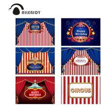 Allenjoy 서커스 배경 사진 줄무늬 생일 파티 배너 사용자 정의 베이비 샤워 사진 커튼 배경 패브릭