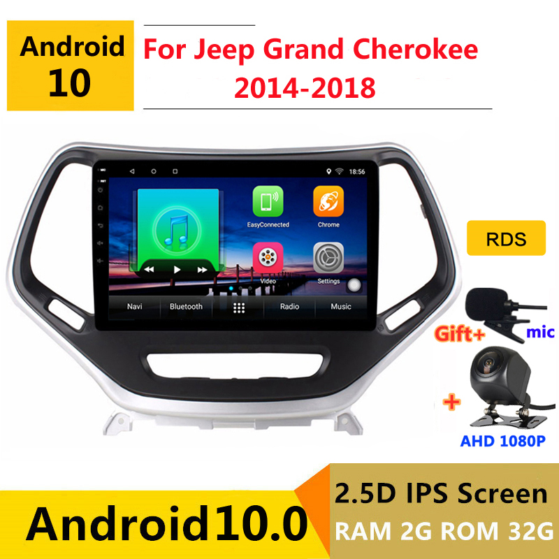 Android 10 Car DVD Multimedia Player GPS For Jeep Grand Cherokee 2014 2015 2016 2017 2018 audio auto radio stereo navigation image