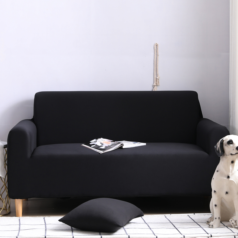 Solid Black Strenth And Elastic material <font><b>Sofa</b></font> Cover Set for Living Room 1/2/3/4 seater 1pc image