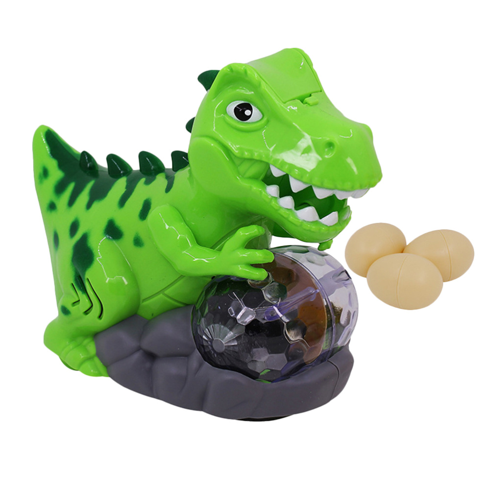 1pc Electric Walking Dinosaur Lay Eggs Toy With Musical Light Simulation Dinosaur Model For Children Kids With 3 Eggs No Battery