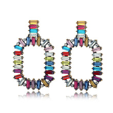 Trendy Colorful Square Crystal Statement Earrings 2019 new arrival Fashion Jewelry ethnic Big Rhinestone earrings for women