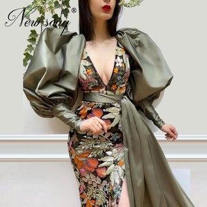 Image 2 - רקמת פיצול סחף מסיבת ערב שמלות 2020 חדש הגעה קוטור דובאי נשף נשים שמלת Vestidos תורכי קפטני ילדה המפלגה